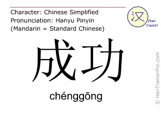 Chinese characters  ( chenggong / chénggōng ) with pronunciation (English translation: to succeed )