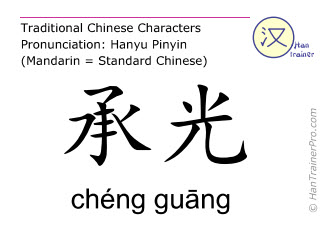 Chinese characters  ( cheng guang / chéng guāng ) with pronunciation (English translation: Bladder 6 )