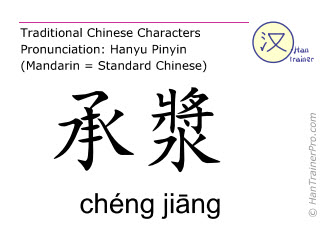 Chinese characters  ( cheng jiang / chéng jiāng ) with pronunciation (English translation: Ren Mai 24 )