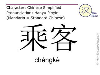 汉字  ( chengke / chéngkè ) 包括发音 (英文翻译: passenger )