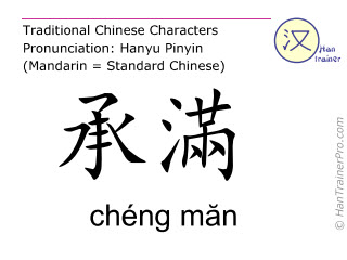 Chinese characters  ( cheng man / chéng măn ) with pronunciation (English translation: Stomach 20 )