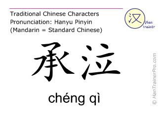 Chinesische Schriftzeichen  ( cheng qi / chéng qì ) mit Aussprache (Deutsche Bedeutung: Magen 1 )