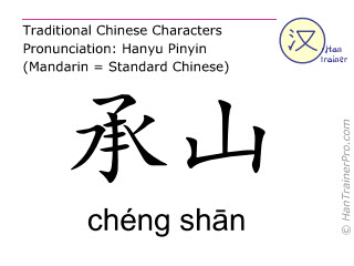 Chinese characters  ( cheng shan / chéng shān ) with pronunciation (English translation: Bladder 57 )