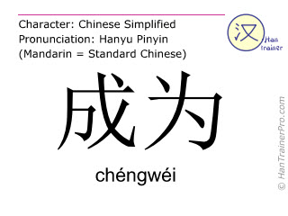 Chinese characters  ( chengwei / chéngwéi ) with pronunciation (English translation: to become )