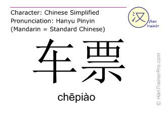 Chinesische Schriftzeichen  ( chepiao / chēpiào ) mit Aussprache (Deutsche Bedeutung: Fahrkarte )