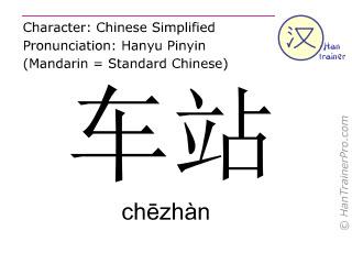 Chinesische Schriftzeichen  ( chezhan / chēzhàn ) mit Aussprache (Deutsche Bedeutung: Haltestelle )