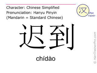 Chinese characters  ( chidao / chídào ) with pronunciation (English translation: to be late )