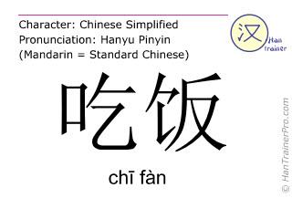 Caractère chinois  ( chi fan / chī fàn ) avec prononciation (traduction française: manger )