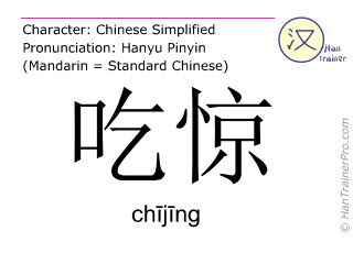 Chinese characters  ( chijing / ch&#299j&#299ng ) with pronunciation (English translation: to be amazed )