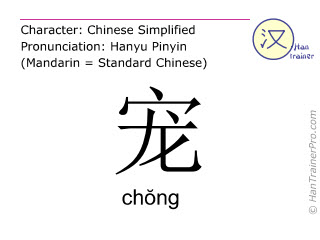 Chinese characters  ( chong / chŏng ) with pronunciation (English translation: to dote on )