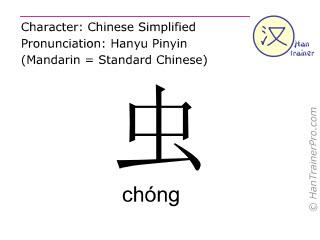 Caractère chinois  ( chong / chóng ) avec prononciation (traduction française: insecte )
