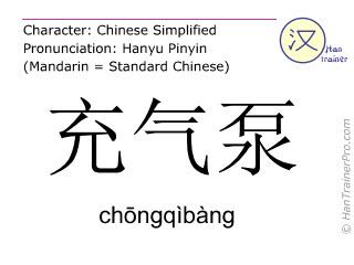 Caractère chinois  ( chongqibang / chōngqìbàng ) avec prononciation (traduction française: Pompe (pour l'inflation) )