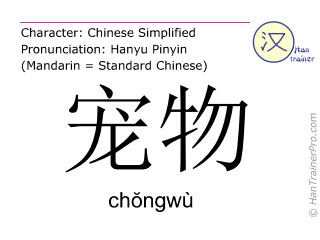 Chinese characters  ( chongwu / ch&#335ngwù ) with pronunciation (English translation: pet )