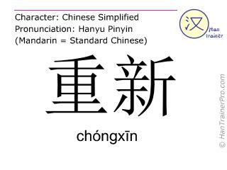 Chinesische Schriftzeichen  ( chongxin / chóngxīn ) mit Aussprache (Deutsche Bedeutung: von vorn )
