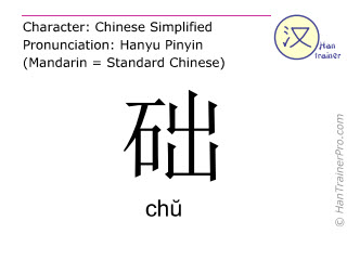 Chinese characters  ( chu / ch&#365; ) with pronunciation (English translation: <m>base</m> )