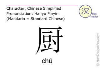 Chinese characters  ( chu / chú ) with pronunciation (English translation: kitchen )