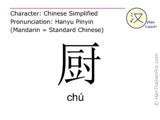 Caracteres chinos  ( chu / chú ) con pronunciación (traducción española: cocina )