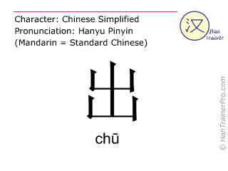 Chinese characters  ( chu / ch&#363 ) with pronunciation (English translation: out )