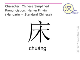 Chinese characters  ( chuang / chuáng ) with pronunciation (English translation: bed )