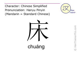 汉字  ( chuang / chuáng ) 包括发音 (英文翻译: bed )
