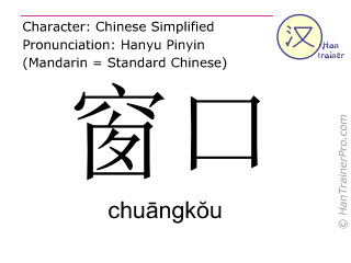 Chinese characters  ( chuangkou / chuāngkŏu ) with pronunciation (English translation: window )