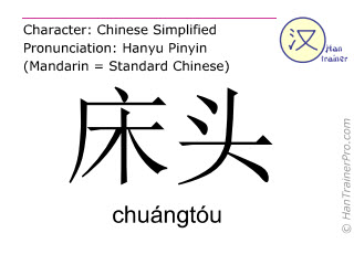 Chinese characters  ( chuangtou / chuángtóu ) with pronunciation (English translation: bedside )
