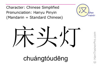 Chinese characters  ( chuangtoudeng / chuángtóudēng ) with pronunciation (English translation: bedside lamp )