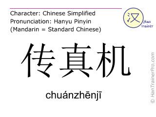 Chinesische Schriftzeichen  ( chuanzhenji / chuánzhēnjī ) mit Aussprache (Deutsche Bedeutung: Fax )