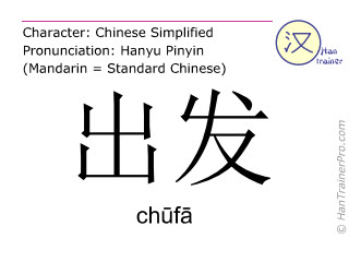 Chinese characters  ( chufa / chūfā ) with pronunciation (English translation: to depart )