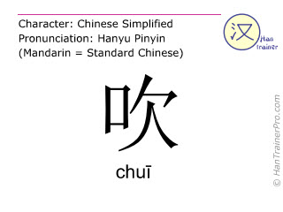 Chinese characters  ( chui / chu&#299 ) with pronunciation (English translation: to blow )