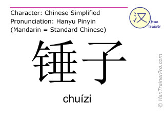 Chinese characters  ( chuizi / chuízi ) with pronunciation (English translation: hammer )