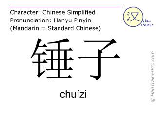 Chinesische Schriftzeichen  ( chuizi / chuízi ) mit Aussprache (Deutsche Bedeutung: Hammer )