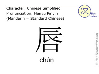Chinese characters  ( chun / chún ) with pronunciation (English translation: lip )
