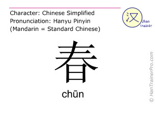 Chinese characters  ( chun / ch&#363n ) with pronunciation (English translation: spring )