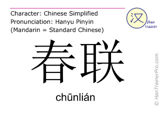 Chinese characters  ( chunlian / ch&#363nlián ) with pronunciation (English translation: Spring Festival couplets )