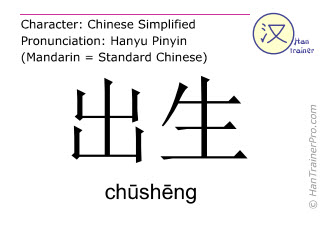 Chinese characters  ( chusheng / chūshēng ) with pronunciation (English translation: birth )