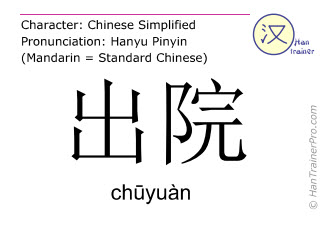 Chinese characters  ( chuyuan / ch&#363yuàn ) with pronunciation (English translation: to leave hospital )