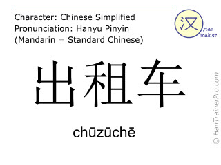Chinese characters  ( chuzuche / chūzūchē ) with pronunciation (English translation: taxi )