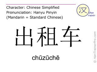 Caracteres chinos  ( chuzuche / chūzūchē ) con pronunciación (traducción española: taxi )