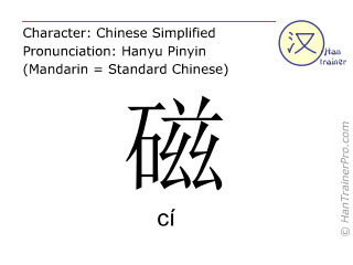 Chinese characters  ( ci / cí ) with pronunciation (English translation: magnet )