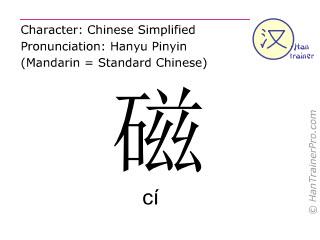 Chinesische Schriftzeichen  ( ci / cí ) mit Aussprache (Deutsche Bedeutung: Magnet )