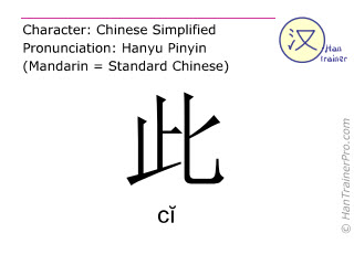Chinese characters  ( ci / cĭ ) with pronunciation (English translation: <m>this</m> )