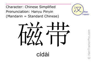 Chinese characters  ( cidai / cídài ) with pronunciation (English translation: magnetic tape )