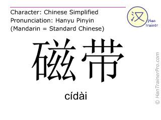 Chinesische Schriftzeichen  ( cidai / cídài ) mit Aussprache (Deutsche Bedeutung: Kassette )