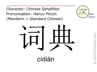 Chinese characters  ( cidian / cídiăn ) with pronunciation (English translation: dictionary )