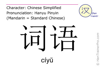 Chinese characters  ( ciyu / cíy&#365 ) with pronunciation (English translation: term )