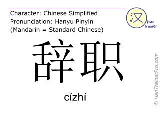 Chinese characters  ( cizhi / cízhí ) with pronunciation (English translation: resignation )