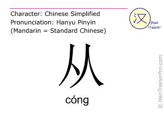 Chinese characters  ( cong / cóng ) with pronunciation (English translation: from )