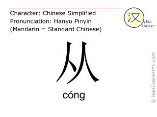 Caractère chinois  ( cong / cóng ) avec prononciation (traduction française: à partir de )