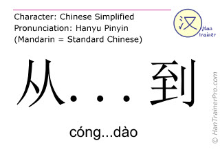 Chinese characters  ( cong...dao / cóng...dào ) with pronunciation (English translation: from ... to )